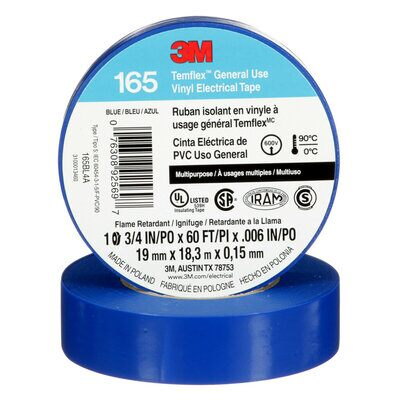 3M 165BL4A TEMFLEX VINYL ELECTRICAL TAPE BLUE 3/4 IN X 60 FT (19 MM X 18 M) 6 MIL