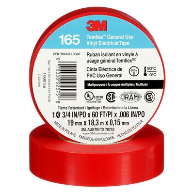 3M 165RD4A 3/4 Inch x 60 Foot Templex Vinyl Electrical Tape, Red, 6 mil (19 mm x 20 m)
