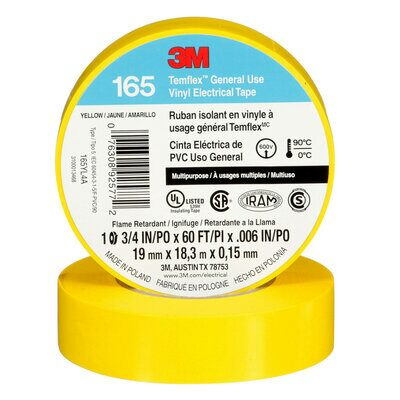 3M 165YL4A TEMFLEX VINYL ELECTRICAL TAPE YELLOW 3/4 IN X 60 FT (19 MM X 18 M) 6 MIL