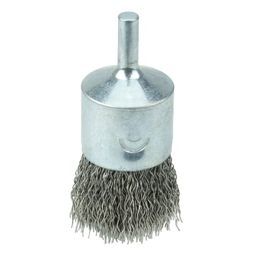 """Weiler 10023 1"""" Crimped Wire End Brush .014"""" Stainless Steel Fill"""