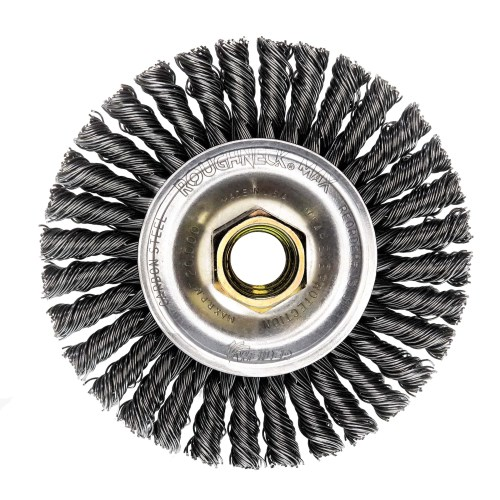 "Weiler 13131 Mini Roughneck 4"" Stringer Bead Wheel, .020"" Steel Fill, 5/8""-11 UNC Nut"