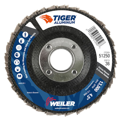 "Weiler 51250 4-1/2"" Tiger Aluminum Flap Disc, Conical (TY29), Phenolic Backing, 36Z, 7/8"" Arbor Hole"