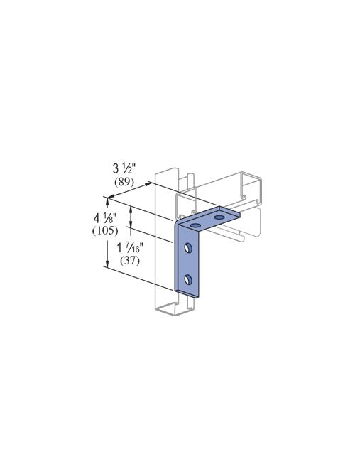 UNISTR P1325-HG 4 Hole 90 Degree L Bracket (Hot Dipped Galvanized) 3-1/2 x 4-1/8