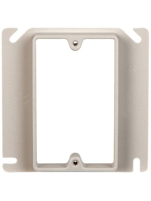 "Allied Moulded 9345 4 x 4 x 1/2"" 4.2"" 1-Gang Junction Box Plaster Ring"