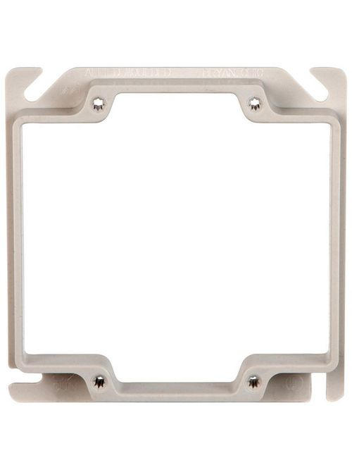 "Allied Moulded 9346 1/2 x 4 x 4"" 6.7"" 2-Gang PVC Outlet Box Plaster Ring"