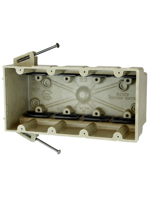 """Allied Moulded 4300-NK 3 x 7-1/2 x 3-3/4"""" 60"""" 4-Gang Fiberglass Angled Mid-Nail Switch/Receptacle Outlet Box"""