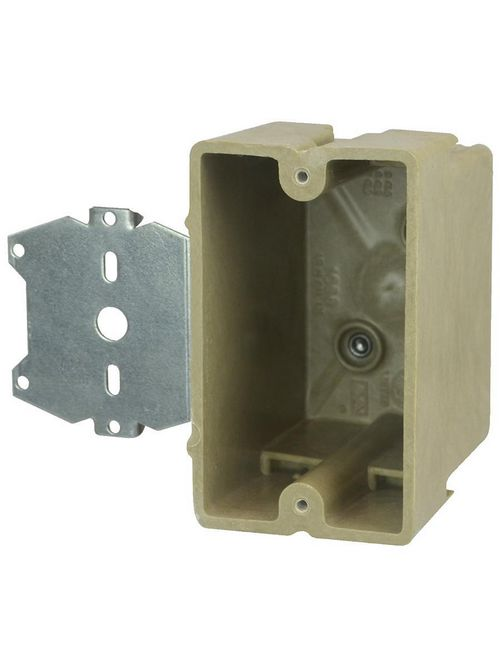 "Allied Moulded 1096-Z2 3 x 2-1/4 x 3-3/4"" 18"" 1-Gang 1/4"" Offset Switch/Receptacle Outlet Box"
