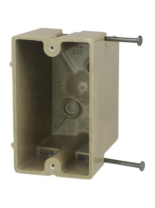 "Allied Moulded 1096-N 3 x 2-1/4 x 3-3/4"" 18"" 1-Gang Internal Mid-Nail Switch/Receptacle Outlet Box"