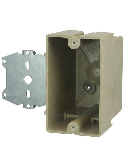 """Allied Moulded 1098-Z4 3-1/4 x 2-1/4 x 3-3/4"""" 20.5"""" 1-Gang Fiberglass Switch/Receptacle Outlet Box"""
