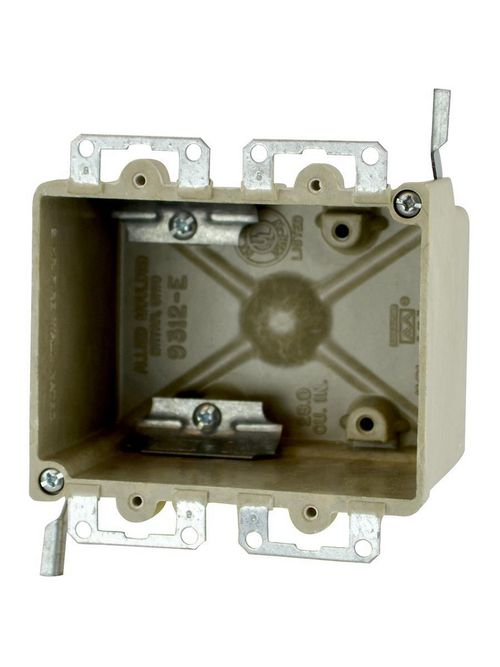 """Allied Moulded 9312-EWC2 2-3/4 x 4-1/8 x 3-1/4"""" 28"""" 2-Gang Fiberglass Switch/Receptacle Outlet Box"""
