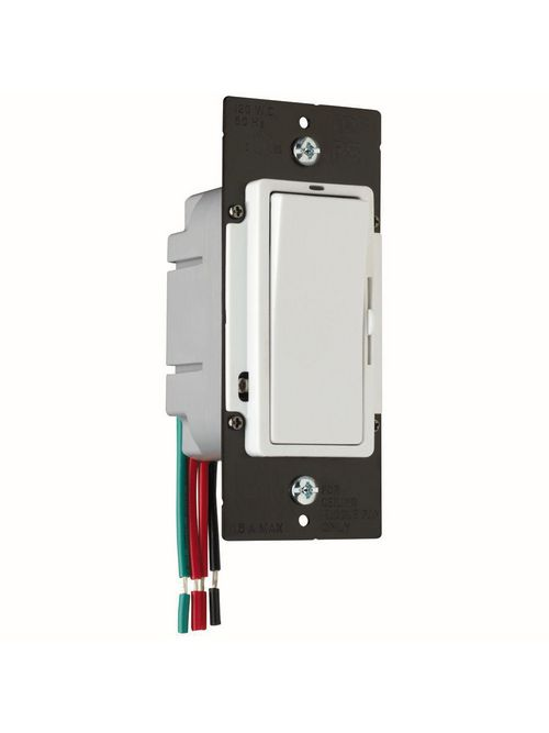 Pass & Seymour DDH16-PW 120 Volt 1.6 Amp 1-Pole 3-Way White Slide with Preset On/Off Fan Speed Control