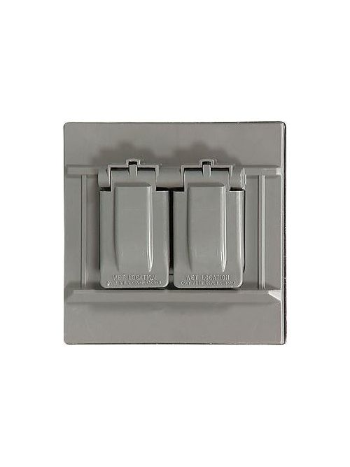 Eagle Electric S1954 1-Gang Gray Self Closing Lid Weatherproof Duplex Receptacle/Combination Device Cover