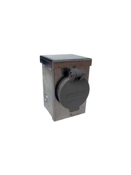 Generac 6346 30 Amp 125/250 Volt Aluminum Power Inlet Box with Spring Loaded Flip Lid