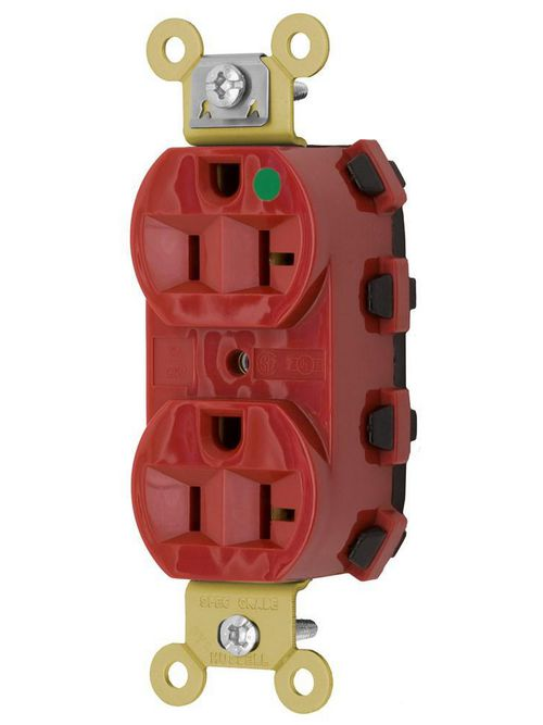 Hubbell Wiring Devices SNAP8300R SNAPConnect 125 Volt 20 Amp Red Hospital Grade Receptacle