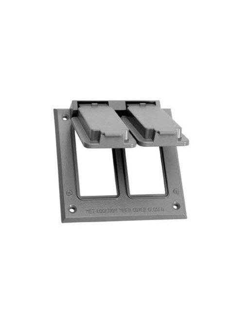 Crouse-Hinds Series TP7252 2-Gang 10/Box Gray Weatherproof GFI Device Cover