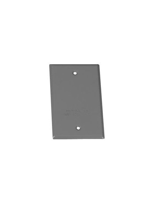 Crouse-Hinds Series TP7292 Steel Gray 1-Gang Blank Box Weatherproof Outlet Cover with Gasket