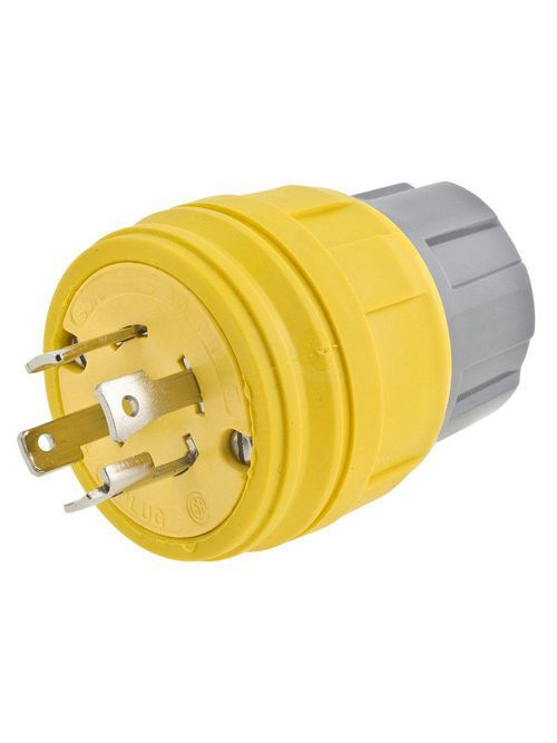 Hubbell Wiring Devices 28W75H 30 Amp 250 Volt 3-Pole 4-Wire NEMA L15-30P Yellow Watertight Locking Plug