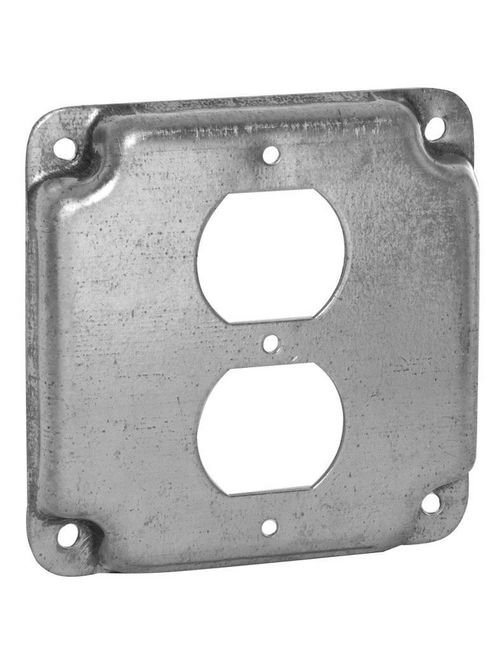 RACO 902 4 Inch 1/2 Inch Raised 5.8 In Pre-Galvanized Steel Duplex Receptacle Crushed Corner Square Box Exposed Work Cover