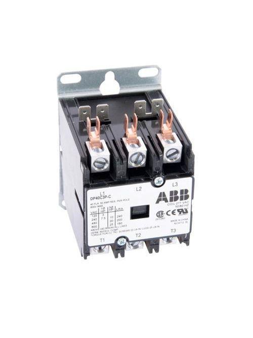 ABB DP40C3P-C 3-Pole 40 Amp 277 VAC Definite Purpose Contactor