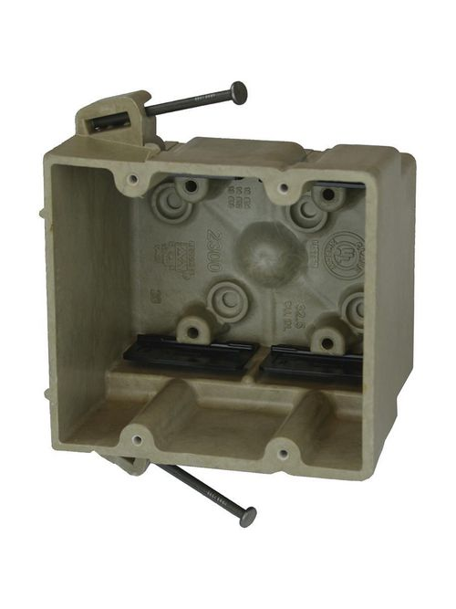 """Allied Moulded 2300-NK 3 x 4 x 3-3/4"""" 32.5"""" 2-Gang Fiberglass Angled Mid-Nail Switch/Receptacle Outlet Box"""