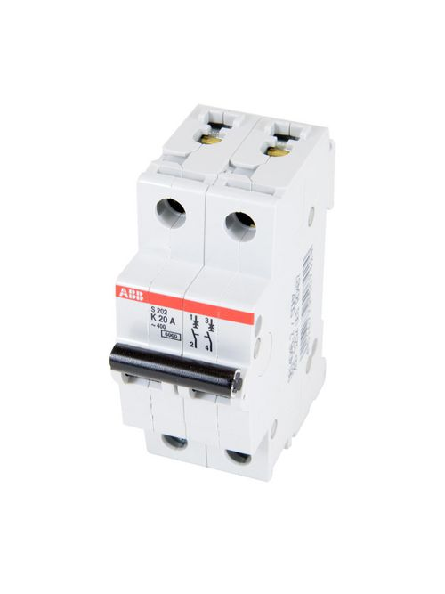 Thomas & Betts S202-K20 2-Pole K Curve 20 Amp 480 Y/277 VAC Supplementary Protector Miniature Circuit Breaker