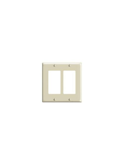 Leviton 80409-I 4.56 x 0.22 x 4.5 Inch 2-Gang Smooth Ivory Thermoset Device Mount Standard Receptacle Wallplate