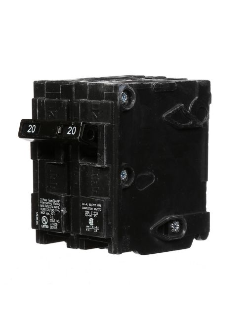 Siemens Industry Q220 2-Pole 120/240 VAC 20 Amp 10 kA Plug-In Common Trip Circuit Breaker