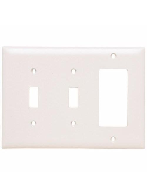 Pass & Seymour TP226-W 3-Gang 2-Toggle Switch 1-Decorator White Nylon Standard Combination Unbreakable Wallplate