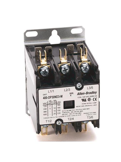 Allen-Bradley 400-DP30ND3 30 Amp 120 Volt 50/60 Hz Definite Purpose Contactor
