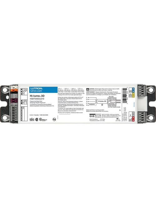 Lutron Electronics H3DT540GU210 40 W 277 VAC 2-Lamp T5 High Frequency Fluorescent Dimming Ballast