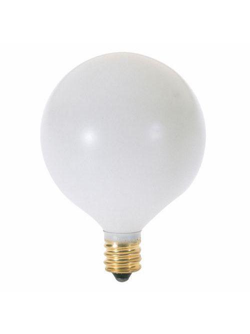 SATCO A3925 25 W 130 Volt 162 Lumen Satin White E12 Candelabra Base G16 1/2 Decorative Incandescent Lamp