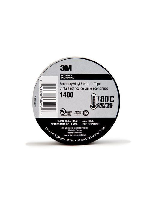 3M 1400-3/4x60FT Black Economy Tape