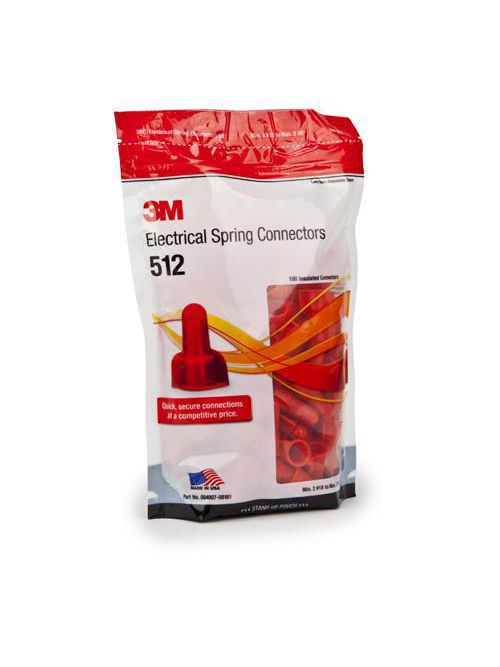 3M 512-POUCH 100/Pouch Red Spring Connector