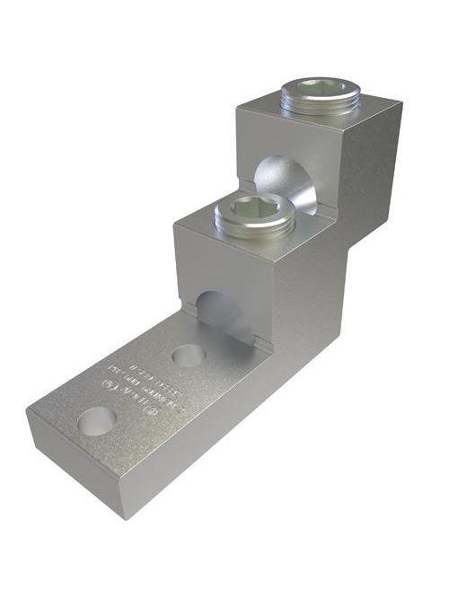 ILSCO PB2-600 UL Rated 600 MCM 2 AWG 13/32 Inch Mounting Hole 1-3/8 Inch Hole Spacing Aluminum Mechanical Lug