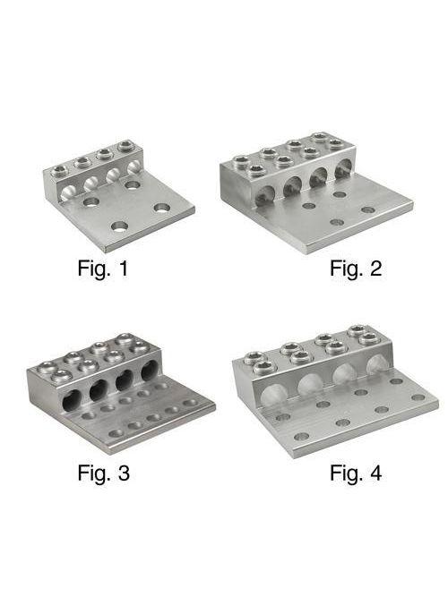 ILSCO T4A4-350N 1/2 Inch Stud Electrotinned Aluminum Alloy 4-Conductor 4-Hole Mechanical Lug