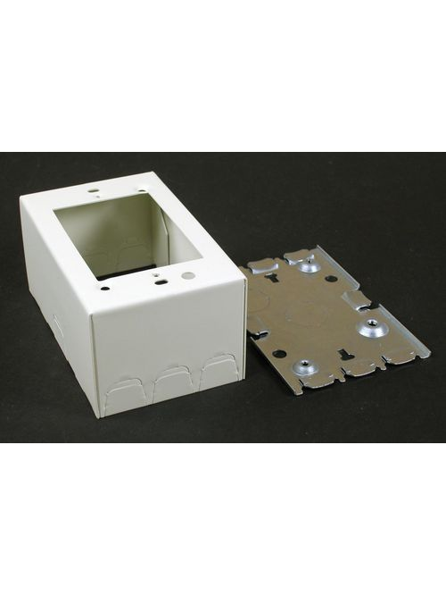 "Wiremold V5744S 4-5/8 x 2-7/8 x 2-1/4"" Ivory Steel 1-Channel Raceway 1-Gang Deep Switch and Receptacle Box"