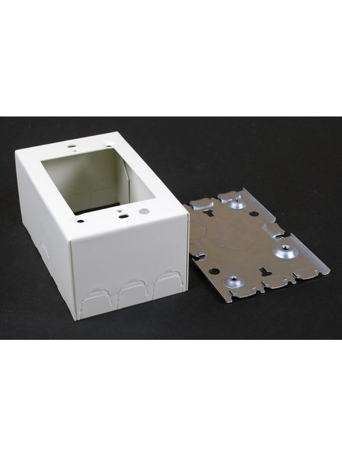 Wiremold V5747 4-5/8 x 2-7/8 x 1-3/8 Inch Ivory Steel 1-Channel Raceway 1-Gang Shallow Switch and Receptacle Box