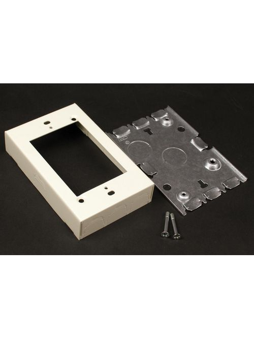 Wiremold V5748S 4-5/8 x 2-7/8 x 15/16 Inch Ivory Steel 1-Channel Raceway 1-Gang Shallow Switch and Receptacle Box