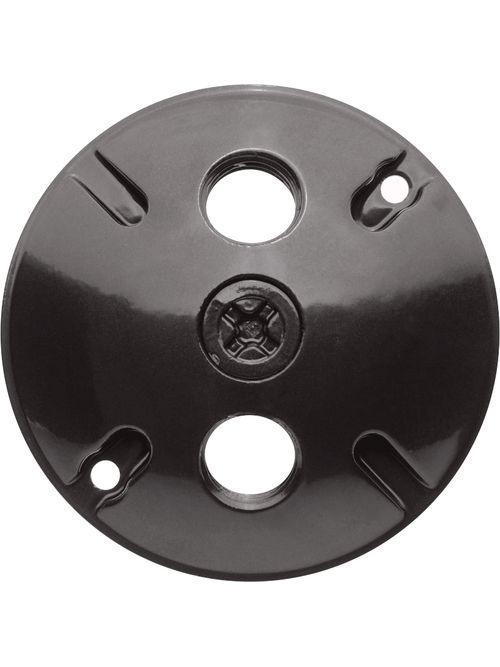"RAB C103A 4-1/2"" 3-Hole Round Bronze Die-Cast Aluminum Weatherproof Cover"
