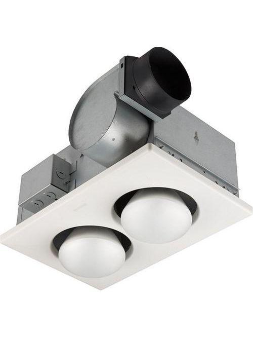 "Broan 164 4.5 Amp 120 Volt 545 W 70 CFM 3.5 Sones 15-5/8 x 10-1/4"" White Polymeric Grille 2-Bulb Heater"