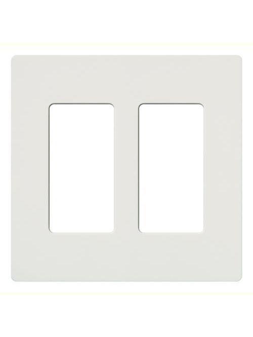 Lutron CW-2-WH 2-Gang White 2-Dimmer Designer Wallplate