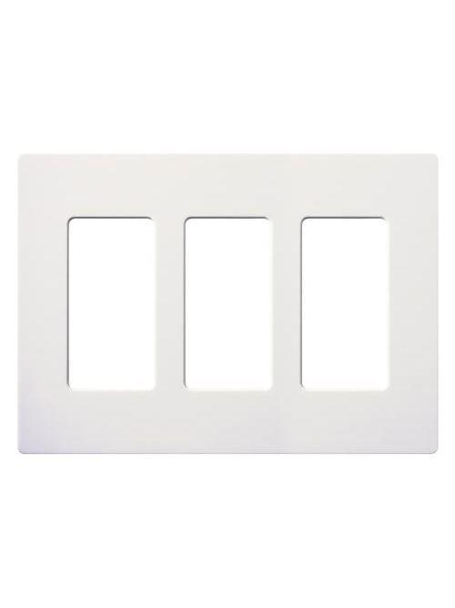 Lutron CW-3-WH 3-Gang White Stainless Steel Standard 3 Dimmer Designer Wallplate