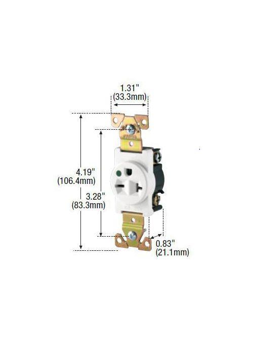 Arrow Hart Wiring 8410W 20 Amp 250 VAC 2-Pole 3-Wire NEMA 6-20R White Straight Blade Single Receptacle