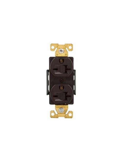 Arrow Hart Wiring AH5462B 20 Amp 250 VAC 2-Pole 3-Wire NEMA 6-20R Brown Straight Blade Duplex Receptacle