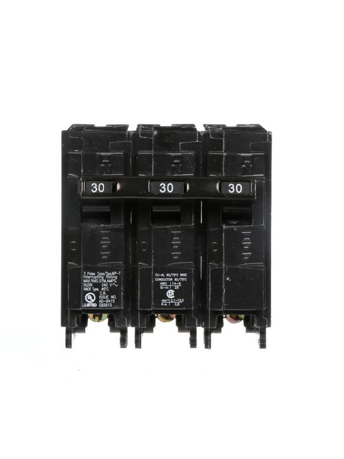 Siemens MP330 3-Pole 240 VAC 30 Amp 10 kA Plug-In Common Trip Circuit Breaker