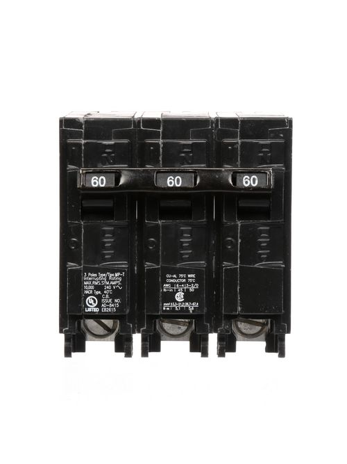 Siemens MP360 3-Pole 240 VAC 60 Amp 10 kA Plug-In Common Trip Circuit Breaker