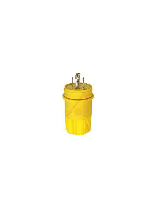 Arrow Hart Wiring L1520PW 20 Amp 250 VAC 3-Phase 3-Pole 4-Wire NEMA L15-20 Yellow Watertight Locking Plug