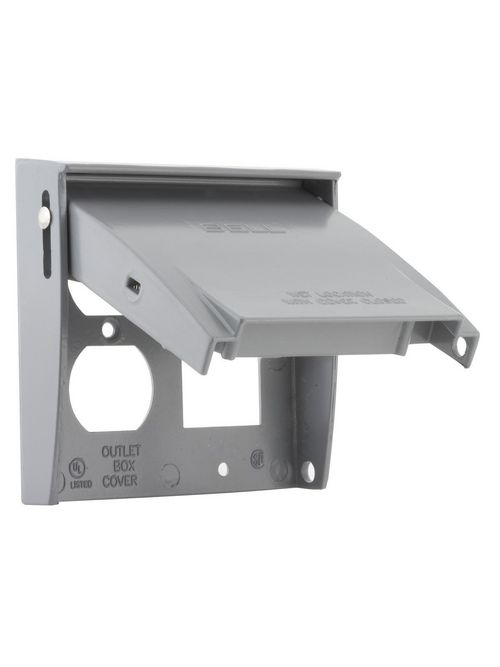 Bell 5033-0 2-Gang Gray Powder Coated Die-Cast Aluminum Vertical Device Mount Flip GFCI/Receptacle Weatherproof Box Cover