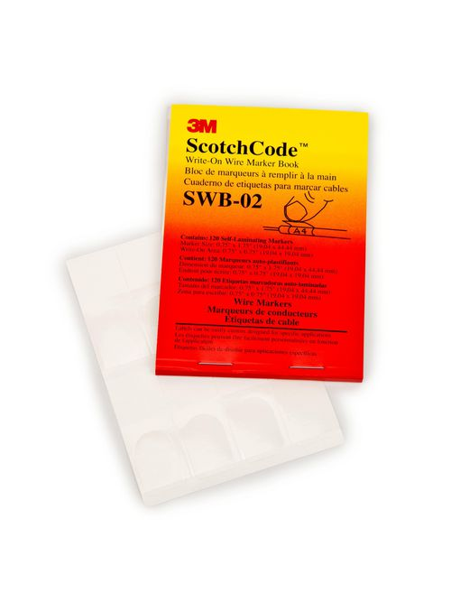 3M Electrical SWB-1 0.5 x 1.5 Inch Label Write-On Wire Marker Book