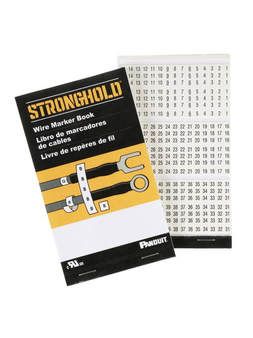 Panduit PCMB-2 0.22 Inch Black/White Pre-Printed Vinyl Cloth Wire Marker Book